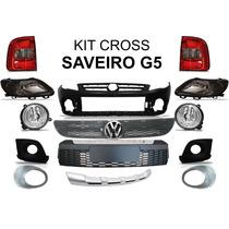 Kit Cross Saveiro G5 Parachoque Grades Spoiler Emblema Farol