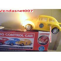 Carrinho Fusca Controle Remoto Amarel Carro Acende Farol Luz