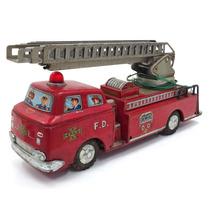 Antigo Brinquedo De Carrinho De Bombeiro De Lata Usado Retrô