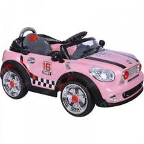 Carro Elétrico Mini Cooper Rosa Conversivel Controle Remoto