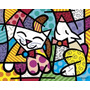 Poster (36 X 28 Cm) Happy Cat And Snob Dog Romero Britto