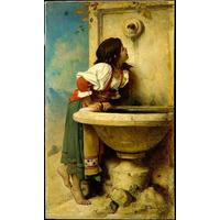 Romano Menina Em A Fonte Poster Impressão Bonnem