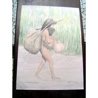 Desenho Cartaz Pôster Índia Carregando Filho. Feito A Mão