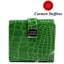Carteira Carmen Steffens Verde Couro Legítimo Croco Original