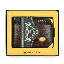 Carteira Masculina Couro Legítimo Café Mitty M0ce Dourado