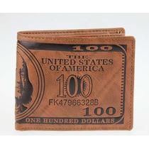 Carteira Importada 100 Dolares Americano Em Couro Legitímo