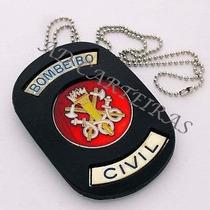 Distintivo Ou Bolachão Bombeiro Civil Em Couro Verm Ou Preto