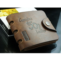Carteira Masculina Em Couro Leather Genuine. Frete Grátis
