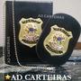 Porta Notas + Distintivo - Perito Judicial - Couro Preto
