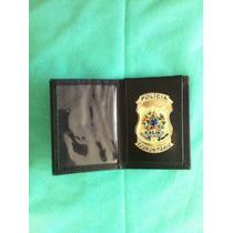 Pc10 Porta Notas Documento Polícia Comunitária Em Couro