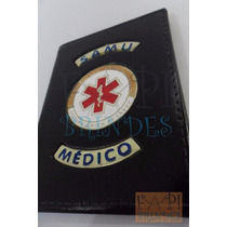 Porta Funcional De Médico Tipo Distintivo Brasão Samu P148p