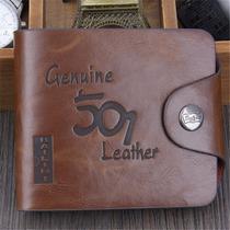 Carteira Masculina Em Couro Leather Genuine. Pronta Entrega