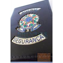 Carteira Em Couro Legítimo Distintivo Agente Segurança P10p