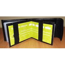 Carteira Velcro Com Porta Cheque Couro Legitimo - Frete 6,50