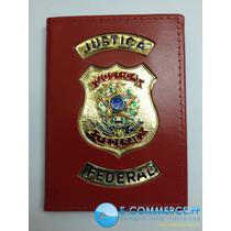 Porta Funcional Cartão Brasão Justiça Federal Couro Legítimo