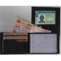 Mini Carteira De Couro Legítimo Porta Cartões Dinheiro E Cnh