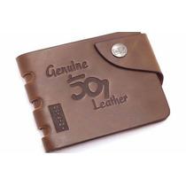 Carteira Masculina Em Couro Leather Genuine