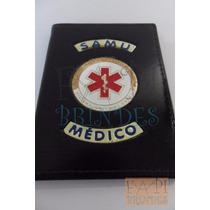 Carteira Samu Para Médico Capa Couro Legítimo Brasão P148p