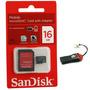 Cartao Memoria 16gb Micro Sd Sandisk + Leitor Brinde