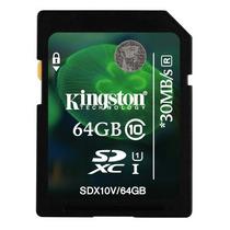 Cartão Sd Sdxc Kingston 64gb Class10 Full Hd - Sdx10v/64gb