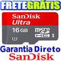 Cartão Memória Micro Sd Hc 16gb Ultra Class10 30mb Fret Grat