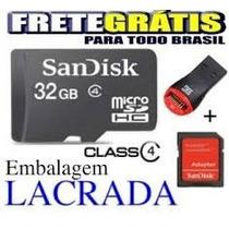 Cartão Memoria Micro Sd 32gb + Leitor Usb + Sd Frete Gratis