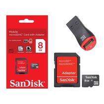 Cartão Memória Micro Sd Sdhc 8gb Sandisk Lacrado + Leitor