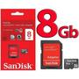 Cartão De Memória 8gb Micro Sd Sandisk+adaptador+frete Justo