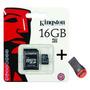 Cartão Memória Micro Sd Sdhc 16gb Kingston Lacrado + Leitor