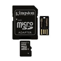 Cartão De Memória Sd Kingston 32gb Micro + Adaptador + Usb