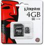 Cartão De Memória Kingston 4gb Micro Sd 2x1 Lacrado Original