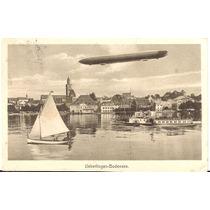 Postal Zeppelin-circulado -ueberlingen-bodensee,