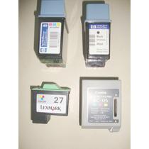 Cartuchos Vazios 2 Hp Preto E Tri-color, 1 Canom E 1 Lexmark
