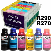 Kit 6 Cartucho Recarregável R290 R270 Chip Full New + Tinta