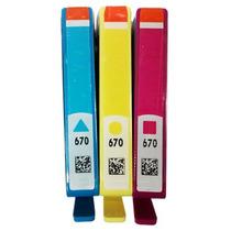 3 Cartuchos Hp 670 Ink Advantage 3525 4615 4625 5525
