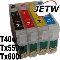 Kit 4 Cartucho Recarregável T40w Tx600f Tx550w C/ Chip Full