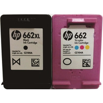 Kit Com 2 Cartuchos Hp 662xl Preto + 662 Color Normal Vazios