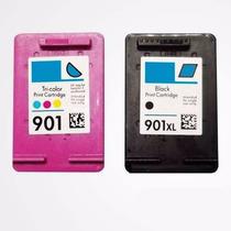 Kit Cartuchos Hp 901 Xl Preto E Color + Tintas