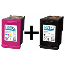 Kit Cartuchos Hp 901 Original Preto E Color + Tintas +manual