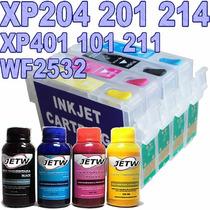 Kit Cartucho Recarregavel Xp204 Xp401 Xp 214 Wf2532 C/ Tinta