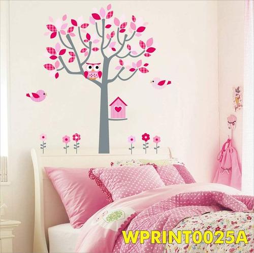 Casa Adesivo Coruja Quarto Menina Pink Rosa Flores Wpt25a  ~ Revestimento Vinil Quarto