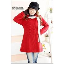 Sobretudo Importado M- Elegante Casaco Princess Lã Vermelho