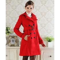 Sobretudo Importado- Pp Trench Coat Em Lã Luxuoso Vermelho