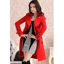 Sobretudo Importado- Gg- Trench Coat Em Lã Elegante Vermelho