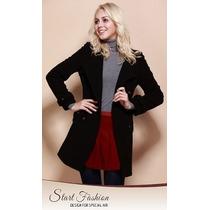 Trench Coat Importado M Luxuoso Modelo Clássico Elegante Lã