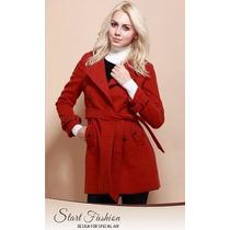 Trench Coat Importado P Luxuoso Modelo Clássico Elegante Lã