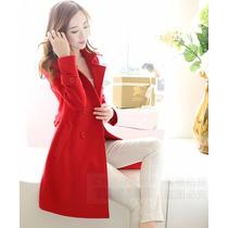 Sobretudo Importado P Feminino E Elegante Em Lã Vermelho
