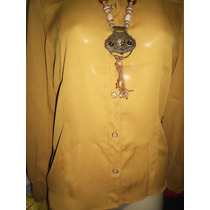 Camisa Feminina Crepe De Seda Mostarda 42