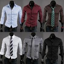 Camisa Social Masculina Slim - Pronta-entrega/várias Cores