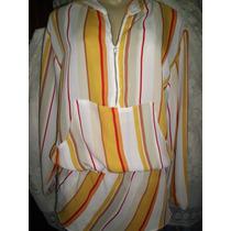 Camisa Feminina C/capuz Crepe De Seda Tamanho G.